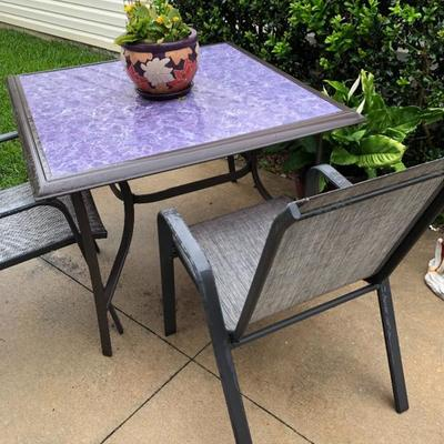 Glass top Table with Lavender covering & 2 Sling Chairs
