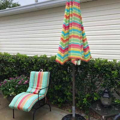 Umbrella with stand. Wrought Iron Chair
