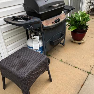 Char Broil BBQ, Resin Wicker side Table. Nice selection of potted plants