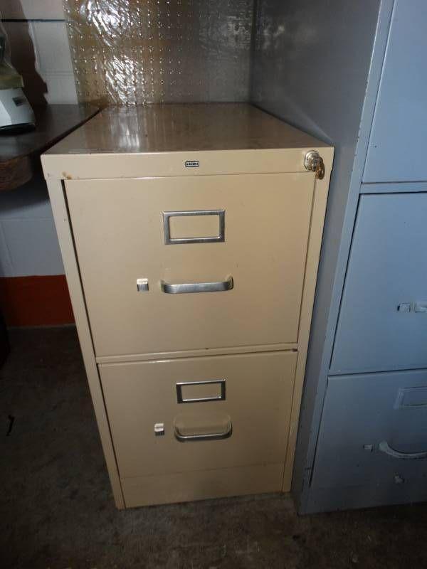 2 Drawer metal file cabinet.