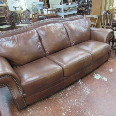 Brown Leather Nail Head Trim Sofa