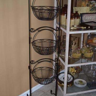 3-Tier Metal Basket Stand, Shelving Unit, Home Decor