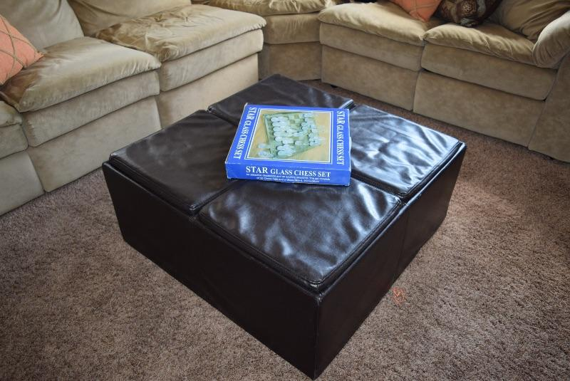 Leather Ottoman, Star Glass Chess Set