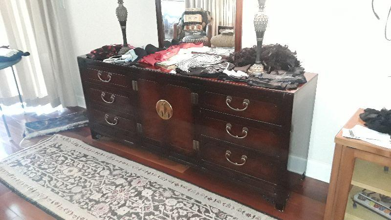 James White NC (all wood) Oriental Mandarin King set with 2  Side Tables and Dresser.