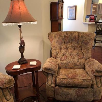 Two Matching Flexsteel Recliners w/Wood Feet & Nailhead Trim (Side table not part of sale)