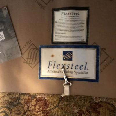 Two Matching Flexsteel Recliners w/Wood Feet & Nailhead Trim - Also Matching Flexsteel Sofa