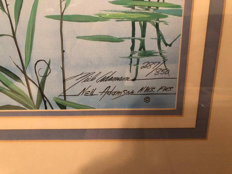 Signed framed art detail