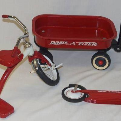 Doll Size Radio Flyer Lot- Wagon- Scooter- Trike