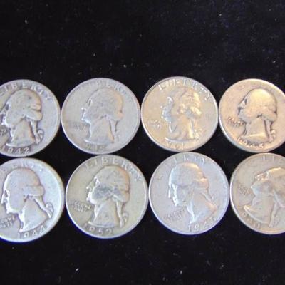 8 Washington Quarters - Dated 1935, 40,42,44, 45,4 ...