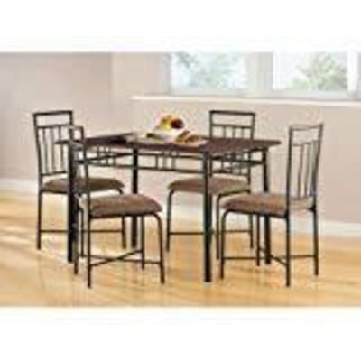 Mainstays 5-Piece Wood and Metal Dining Set, Multi ...