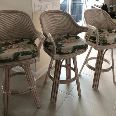 3 Matching Whitewashed Rattan Bar Chairs w/Arms