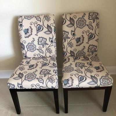 Two Modern Floral Parsons Chairs