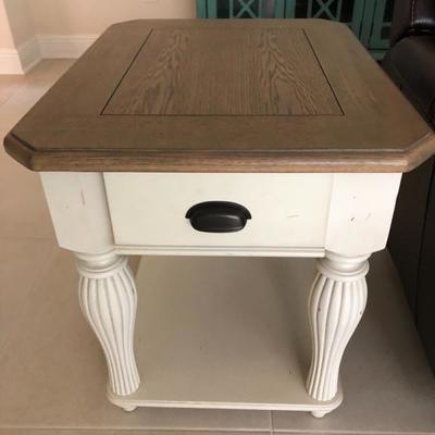 Buff paint & Natural wood End Table - There are 2 of these