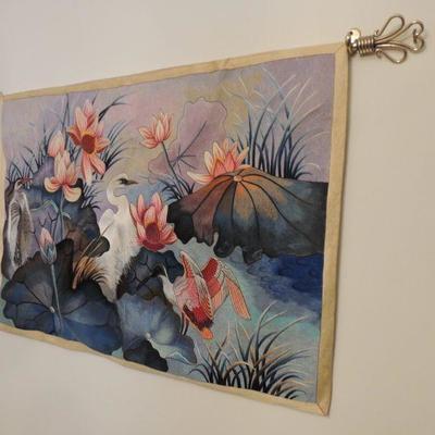 silk tapestry with brass rod