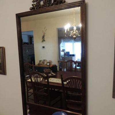 Antique mirror with eagle top