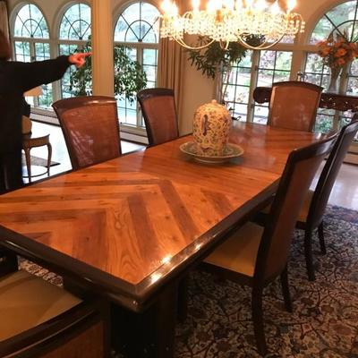 41 X 108 inches (including 2 leaves, 18 inches each) Hibriten Furniture Company Dining room set
