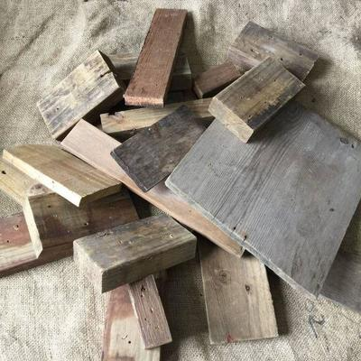 Assortment of reclaimed scrap wood pieces