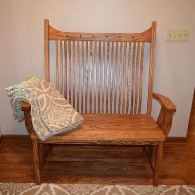 Wooden High Backed Bench, Throw