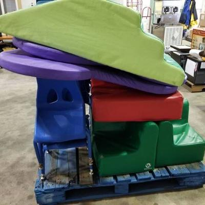 Assorted Cushion Chairs, 7 Plastic Chairs