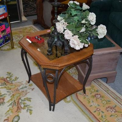 Side Table & Artificial Plant