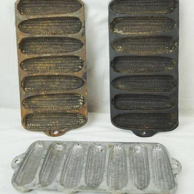 Lot of Three Cornbread Molds - Two are Cast Iron