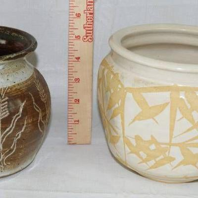 Lot of 2 Stoneware Pottery Pieces - wow!