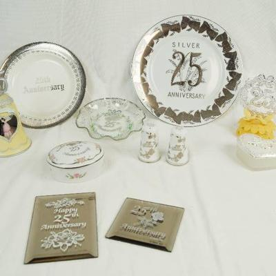 Lot of 25th Wedding Anniversary Collectible Items ...