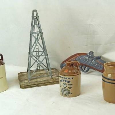 Lot of Booze Decanters and an Oil Rig Figurine - s ...