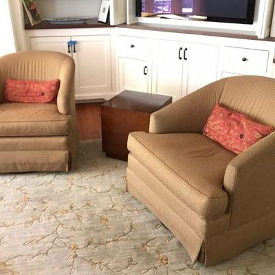 Pair of Mitchell Gold swivel chairs