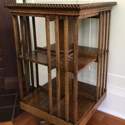 Arts & Crafts oak revolving bookcase