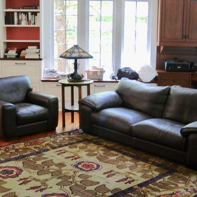 Roche Bobois leather sofa and matching arm chair