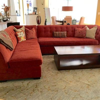 Mitchell Gold sectional sofa and coffee table