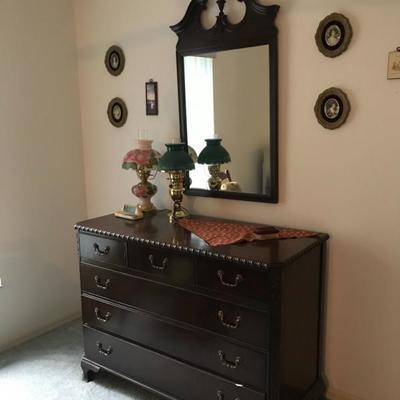 Matching Dresser  47.5 w x 21d x 34.5 tall  Mirror 24.25 wide x 42l