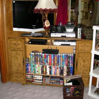 Electronics, DVDs, CDs, records, cassette tapes