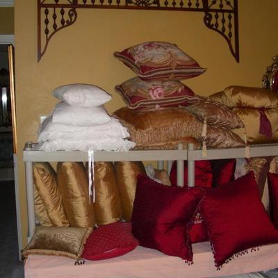 Decorative pillows, one of several pieces of architectural fretwork/gingerbread