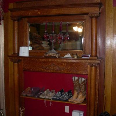 One of two fireplace mantels