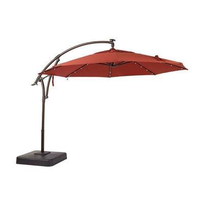 11 ft. LED Offset Patio Umbrella in Sunbrella Henn ...
