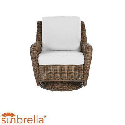 Hampton Bay Cambridge Brown Wicker Swivel Chair (b ...