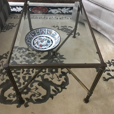Brass and beveled glass coffee table $99 29 X 17 X 19