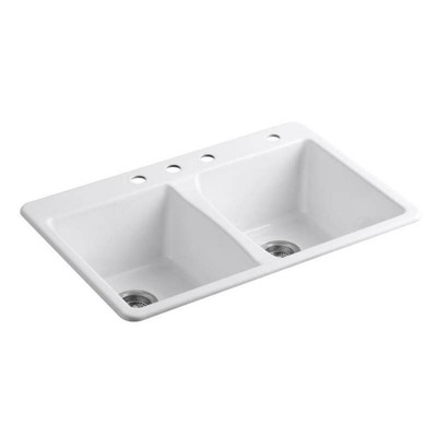KOHLER Deerfield 33-in x 22-in White Double-Basin ...