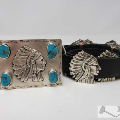 680: Sterling Silver and Turquoise Chief Concho Belt, 294.6g Weighs approx 294.6g, Measures approx 52