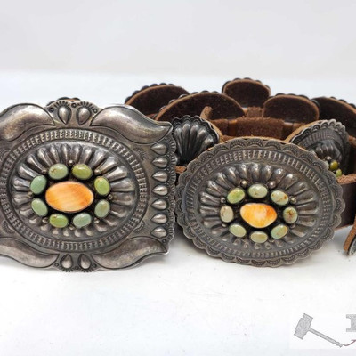 682:  Navajo Sterling Silver Turquoise And Coral Concho Belt By Daniel Martinez, Measures approx 41