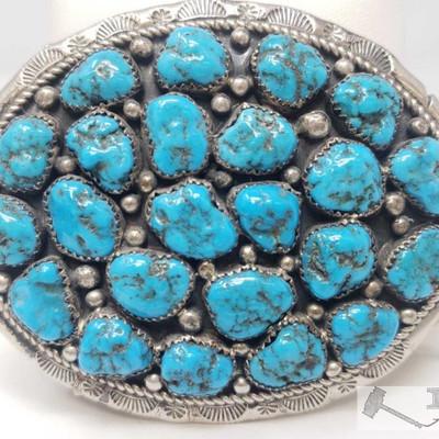 670:  Marlene Jones Old Pawn Turquoise Cluster Nugget Sterling Belt Buckle, 64.2g Measures approx 2.5