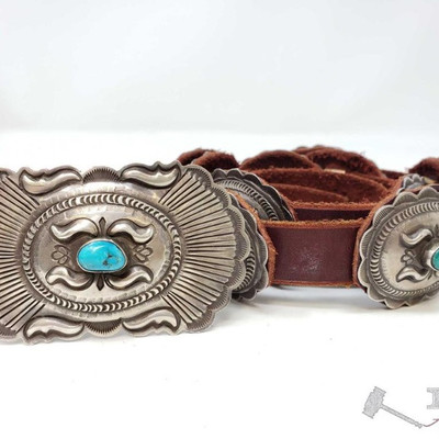 678: Vintage Navajo Gene Charley Turquoise Sterling Silver Concho Belt, 239.1g Weighs approx 239.1g, belt measures approx 43