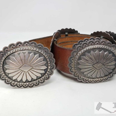 676:  Handmade Sterling Silver Concho Belt, 570.8g Measures approx 42