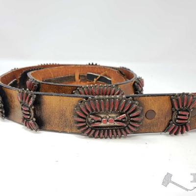 683:  Vintage Authentic Navajo Sterling Silver and Red Concho Belt Measures approx 44
