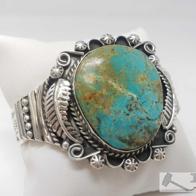 616  Marcella James Vintage Turquoise Mixed Media Sterling Bracelet, 55.7g Weighs approx 55.7g