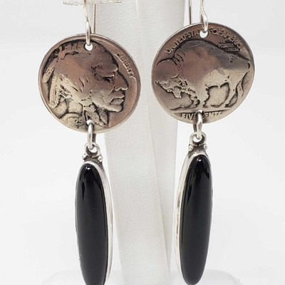 665:  Buffalo Nickel and Black Onyx Earrings by Elle Curley-Jackson Weighs approx 16g