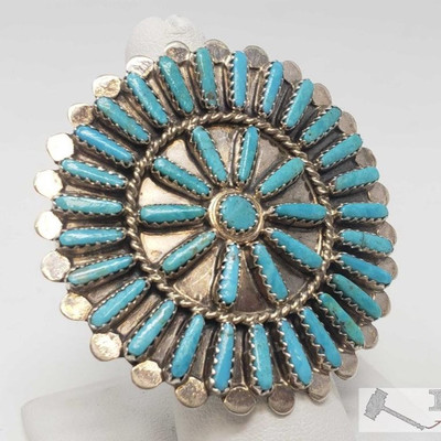 #600 • BYJoe Vintage Turquoise Cluster Large Face Sterling Ring, 14.5g Weighs approx 14.5g, size 7