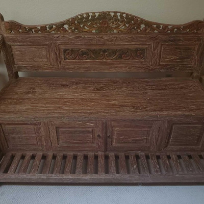 #51 Handmade Wooden Bench with Storage One of a kind, Hand carved from used fishing boat, Teak wood. French technique of carving wood,...